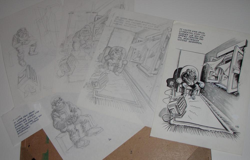 """mehrere Skizzen und das fertige Original des Cartoons """"im Winter kann Erwin..."""""""